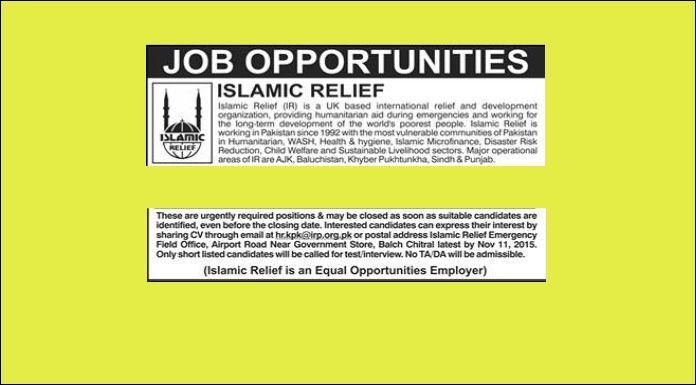 Job in Islamic Relief UK Based in Chitral