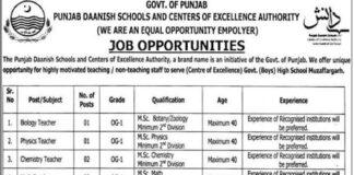 Punjab Govt Jobs in Daanish Schools and Centers