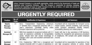 Govt Jobs in Lahore Transport Company-LTC Punjab Pakistan
