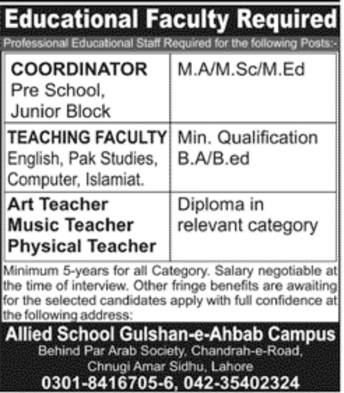 Jobs in Allied School Gulshan e Ahbab Campus Lahore