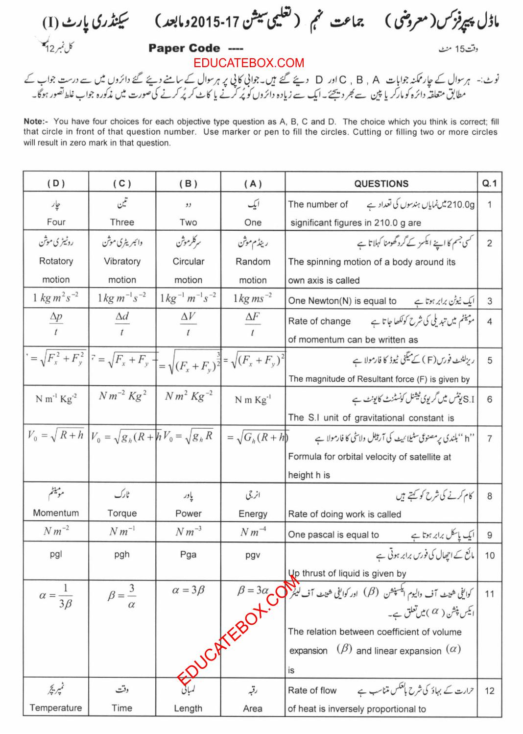 Model Paper 9th Physics Objective 2015-17