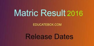 Matric Results 2016 Release Date