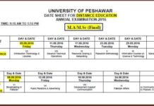 Date-Sheet-Distance-Education-University-Peshawar-MA-MSc-Annual-Exam-2016