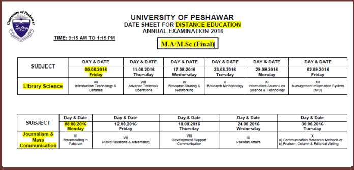 Date-Sheet-Distance-Education-University-Peshawar-MA-MSc-Annual-Exam-2016