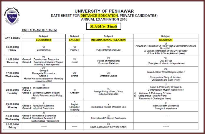 Date Sheet Distance Education University of Peshawar MA/MSc Annual Examination 2016