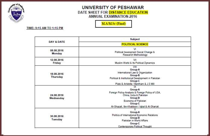 Date Sheet Distance Education University of Peshawar MA/MSc Annual Examination 2016 - 3