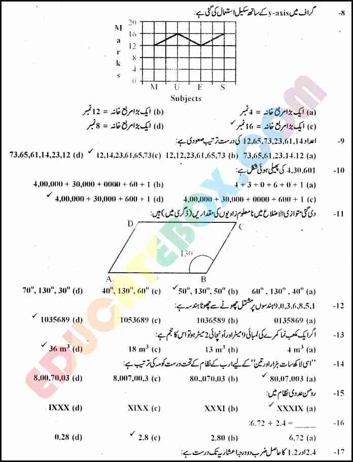 Past Paper Maths (Urdu Medium) 5th Class 2010 Punjab Board (PEC) Solved Paper Objective Type - Page 2 - ل شدہ پرچہ ریاضی 2010 جماعت پنجم ۔پنجاب بورڈ اردو میڈیم معروضی طرز ۔ صضحہ نمبر ۲