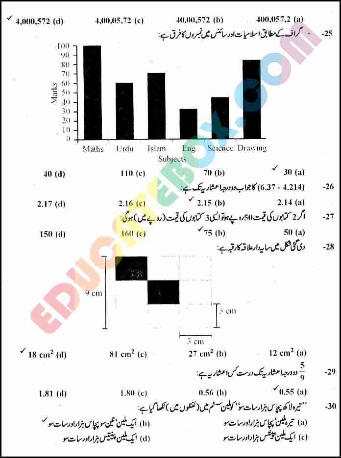 Past Paper Maths (Urdu Medium) 5th Class 2010 Punjab Board (PEC) Solved Paper Objective Type - Page 4 - حل شدہ پرچہ ریاضی 2010 جماعت پنجم ۔پنجاب بورڈ اردو میڈیم معروضی طرز ۔ صضحہ نمبر ۴