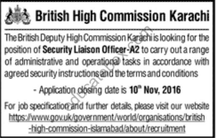 Jobs in British High Commission Karachi
