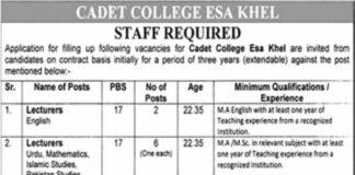 Jobs in Cadet College Esa Khel