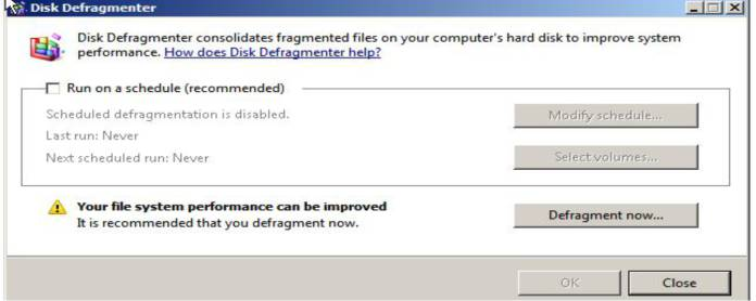 improve your computer's performance by disk defragmenter
