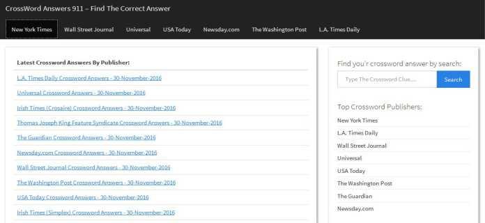 Screenshot of Crosswordanswers911.com