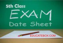 5th class date sheet 2017 Punjab Board Exams PEC Punjab Examination Commission