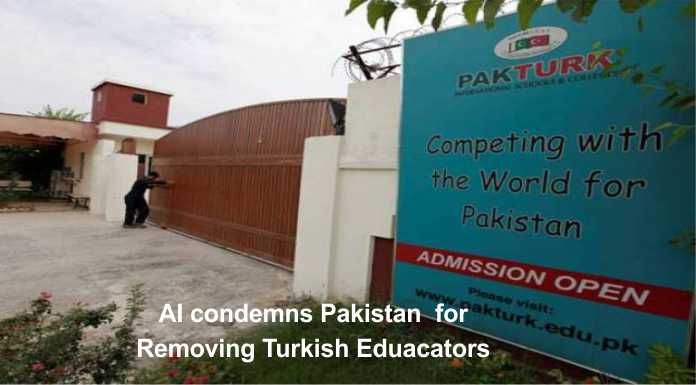 Amnesty International (AI) condemns Pakistan for Removing Turkish Educators