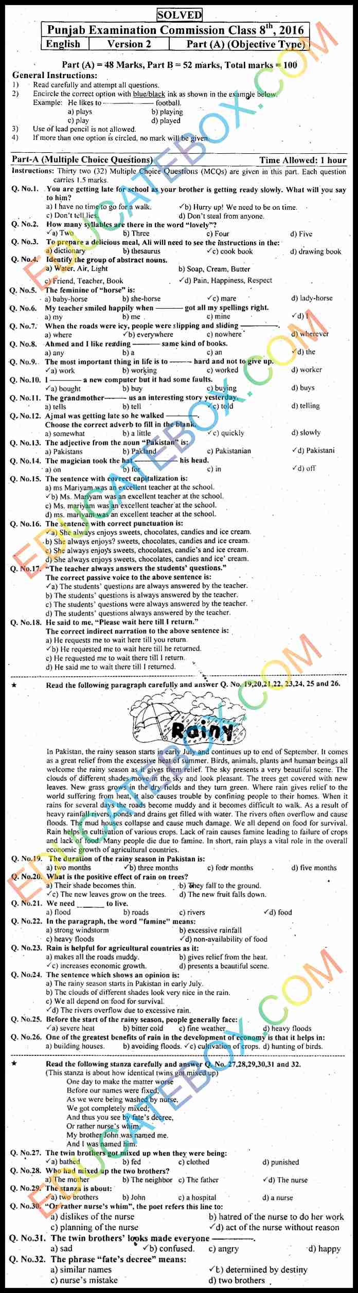 Past Paper 8th Class English 2016 Solved Paper Punjab Board (PEC) Objective Type Version 2