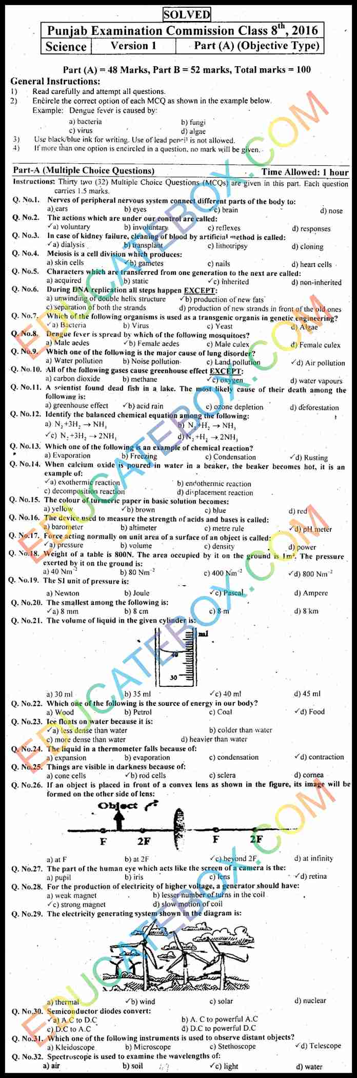 Past Paper 8th Class Science 2016 Solved Paper (English Medium) Punjab Board (PEC) Objective Type Version 1