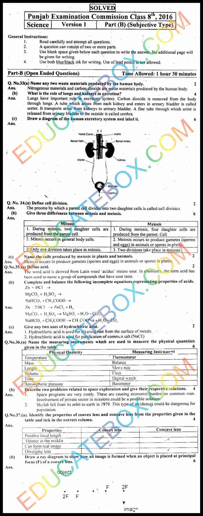 Past Paper 8th Class Science 2016 Solved Paper Punjab Board (PEC) Subjective Type Version 1