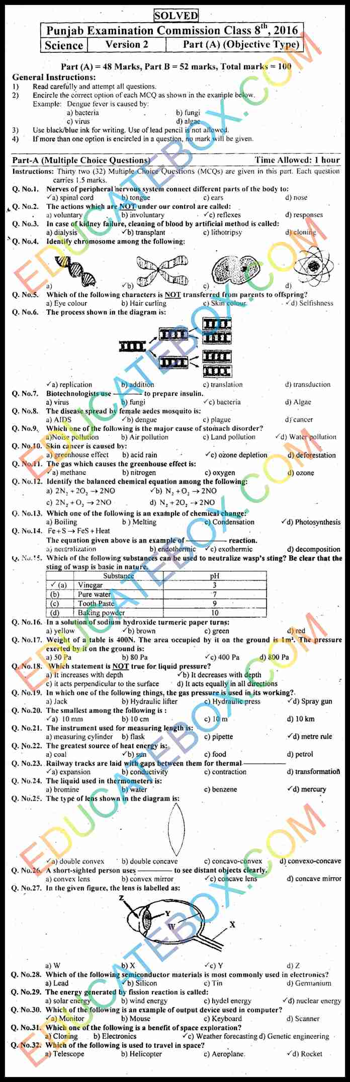 Past Paper 8th Class Science 2016 Solved Paper (English Medium) Punjab Board (PEC) Objective Type Version 2
