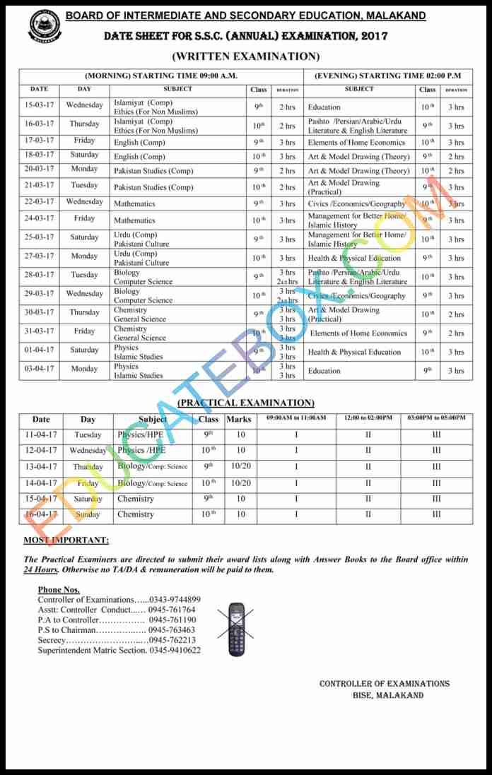 9th 10th datesheet malakand board, Malakand matric datesheet 2017