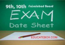 Matric Faisalabad board datesheet 2017 - 9th, 10th date sheet Bisefsd