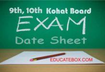 Matriculation Kohat board date sheet 2017 - 9th, 10th date sheet BiseKt