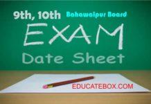 Matric Bahawalpur board datesheet 2017