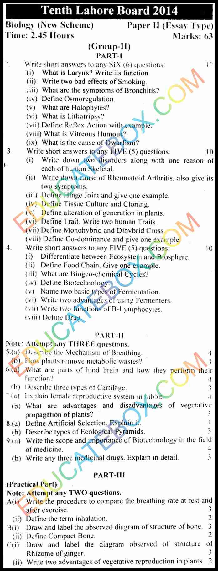 Past Paper 10th Class Biology Lahore Board 2014 English Medium Group 2 Subjective Type