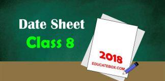 Date Sheet 8th Class 2018 Punjab Board Exams - PEC