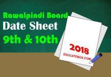 10th and 9th Date Sheet 2018 Rawalpindi Board (BiseRawalpindi)
