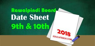10th and 9th Date Sheet 2018 Rawalpindi Board (BiseRawalpindi)