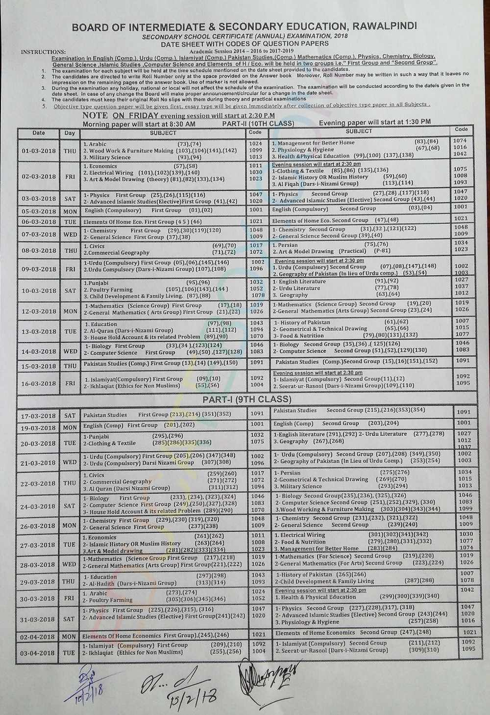 9th 10th Date Sheet 2018 Rawalpindi Board Matric Exams