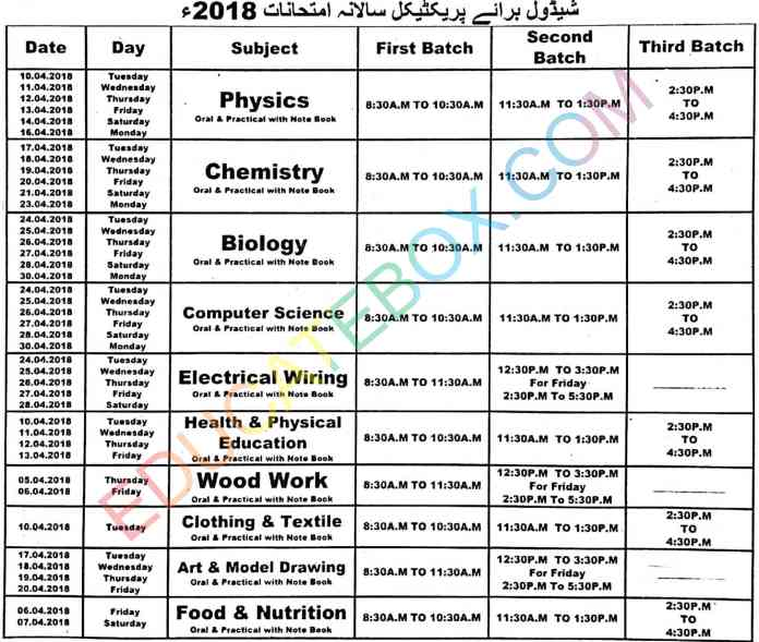 9th, 10th (Matric) Date sheet of Practicals 2018 Multan Board (BiseMultan)