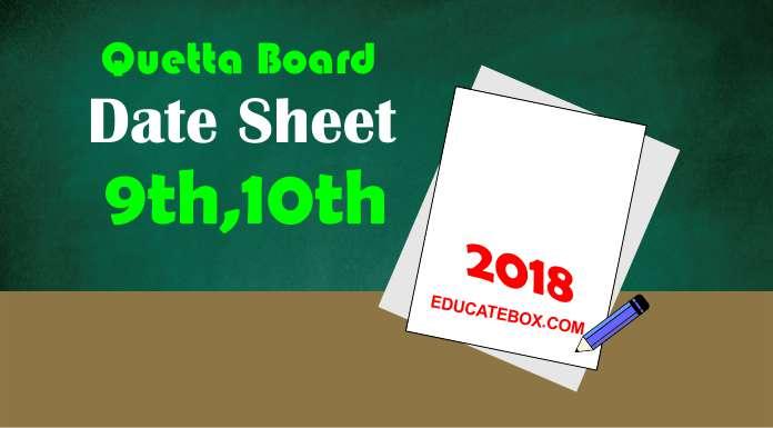 Educate Box — 9th, 10th Date Sheet 2018 Quetta Board