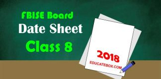 federal board date sheet 2018 9th class &10th class (matric papers)