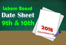 Matric Date Sheet 2018 lahore Board 9th 10th