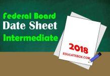 Intermediate Date Sheet 2018 BISE Federal board