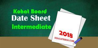 Intermediate Date Sheet 2018 BISE Kohat board