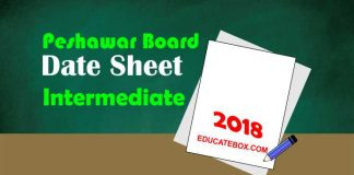 Intermediate Date Sheet 2018 BISE Peshawar