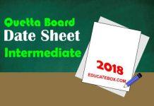 Intermediate Date Sheet 2018 BISE Quetta