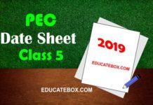 Date Sheet 5th Class 2019 PEC (Punjab Board Exams)