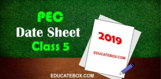 Date Sheet 5th Class 2019 PEC (Punjab Board Exams)