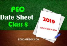 Date Sheet 8th Class 2019 PEC (Punjab Board Exams)
