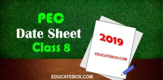 Date Sheet 8th Class 2019 PEC (Punjab Board Exams)