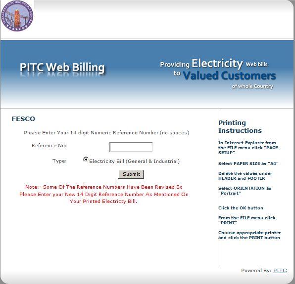 fesco online bill check