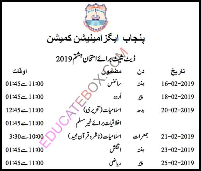 8th Class Datesheet 2019 in Urdu