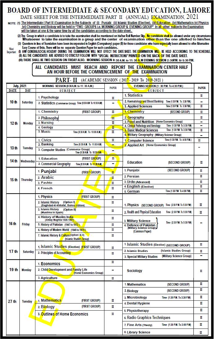 1st year 2nd year Date Sheet 2021 BISE Lahore