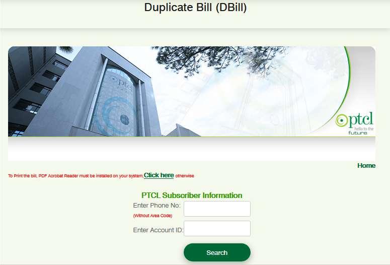 Ptcl Landline Bill Check
