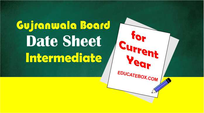 Gujranwala Board (1st Year, 2nd Year) Intermediate Datesheet