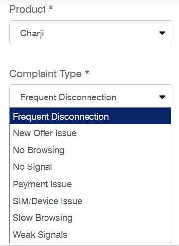 ptcl charji complaint types form