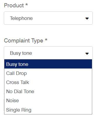 telephone complain types form